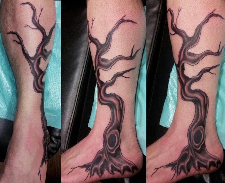 Realistic foot leg tree tattoo by 3 lions tattoo for Realistic tree tattoos