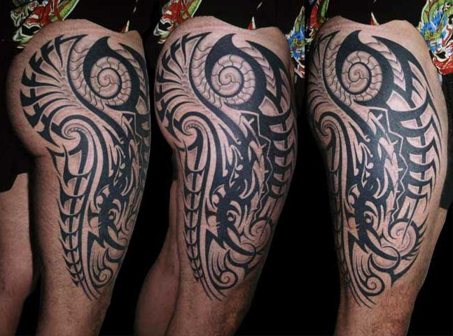 Tribal thigh tattoo by anil gupta for Thigh tribal tattoos