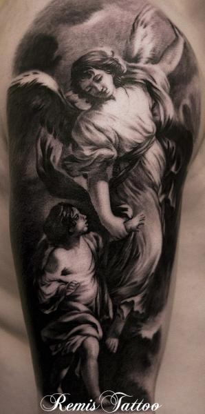 Shoulder Angel Religious Tattoo by Remis Tatooo