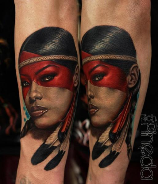 Arm Portrait Realistic Indian Tattoo By Rich Pineda Tattoo