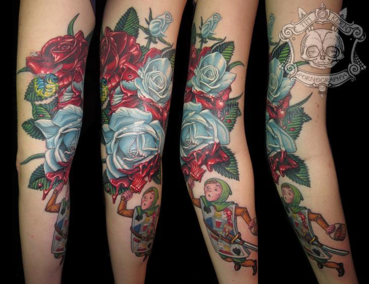tatouage bras fantaisie fleur alice aux pays des merveilles par tim kerr. Black Bedroom Furniture Sets. Home Design Ideas