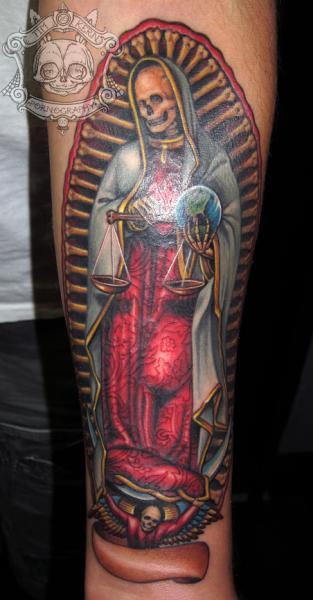 arm religious skeleton tattoo by tim kerr. Black Bedroom Furniture Sets. Home Design Ideas