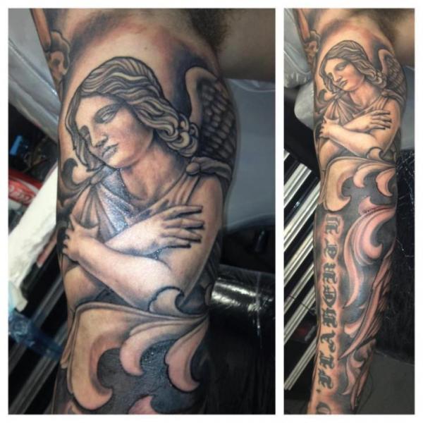 Arm Realistic Angel Tattoo By Border Line Tattoos