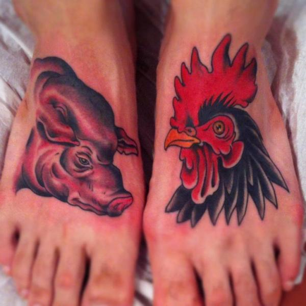 Foot pig rooster tattoo by pioneer tattoo for Pig and rooster tattoo meaning