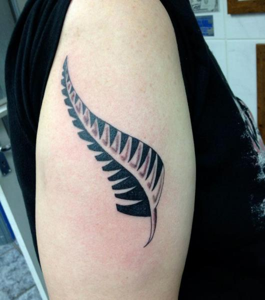 Shoulder Feather Tribal Tattoo by Alans Tattoo Studio