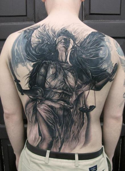 Fantasy Back Angel Justice Tattoo by Elvin Tattoo