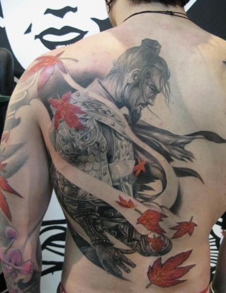 japanese back samurai tattoo by elvin tattoo. Black Bedroom Furniture Sets. Home Design Ideas