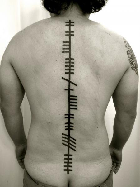 Back Line Abstract Tattoo By Apocaript