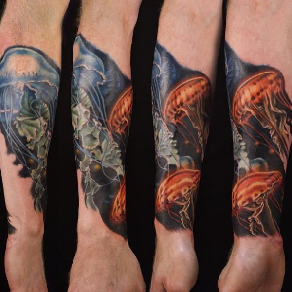 Arm Realistic Jellyfish Tattoo by Artrock
