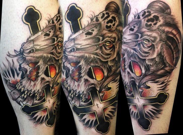 Arm Fantasy Skull Crux Tattoo by Dark Art Tattoo