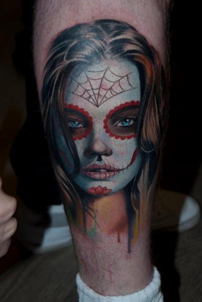 Tatuaż Noga Meksykańska Czaszka przez Dark Art Tattoo - tattoo-leg-mexican_skull