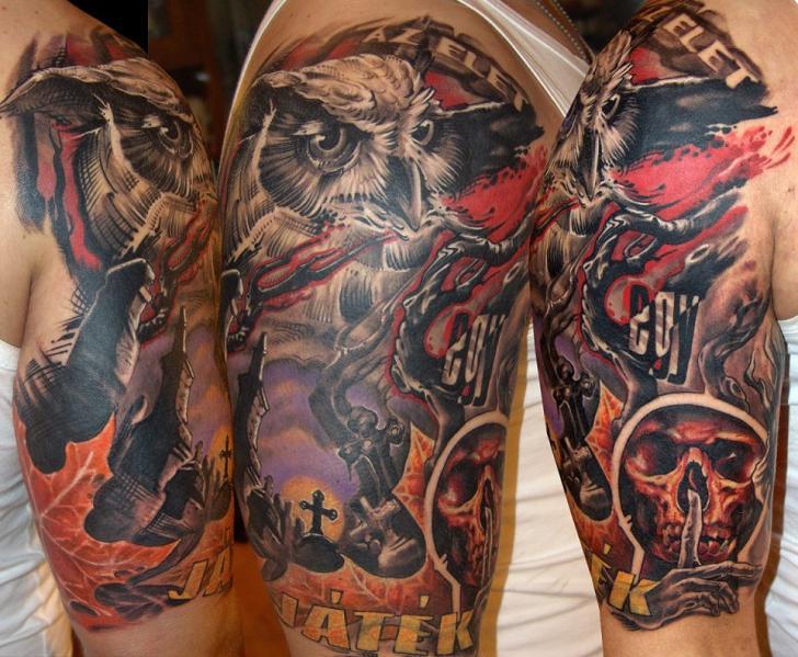 Shoulder Fantasy Owl Tattoo by Dark Art Tattoo Owl Sleeve Tattoos For Girls
