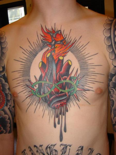 Chest heart religious tattoo by chad koeplinger for Religious chest tattoos