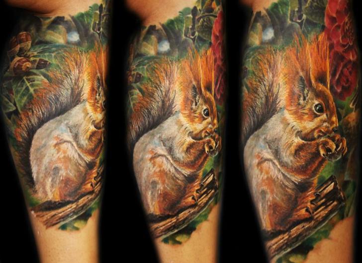 Realistic Calf Squirrel Tattoo By Ivan Yug