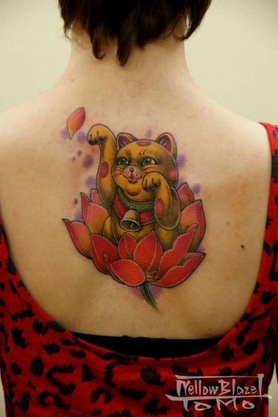 Japanese Back Maneki Neko Tattoo By Yellow Blaze