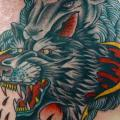 Old School Back Wolf Lamb tattoo by Da Vinci Tattoo