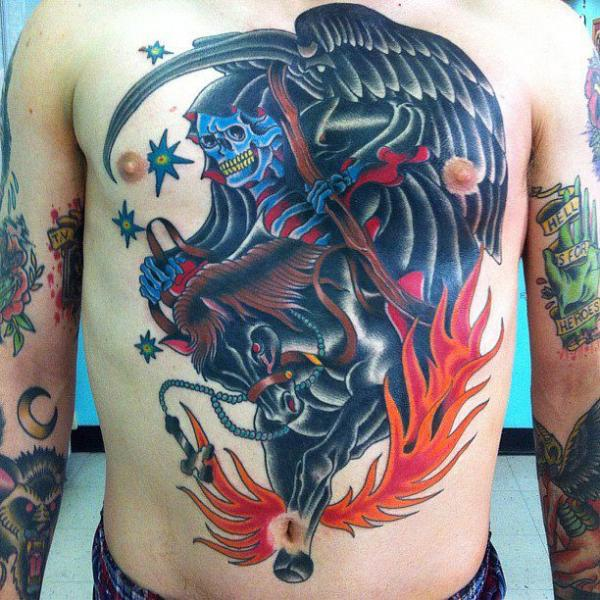 New School Horse Tattoo: New School Chest Belly Death Horse Flame Tattoo By Da