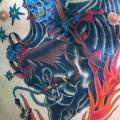 tatuagem New School Peito Barriga Morte Cavalo Chama por Da Vinci Tattoo