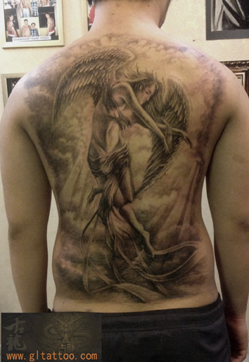 Fantasy Back Angel Tattoo by GL Tattoo