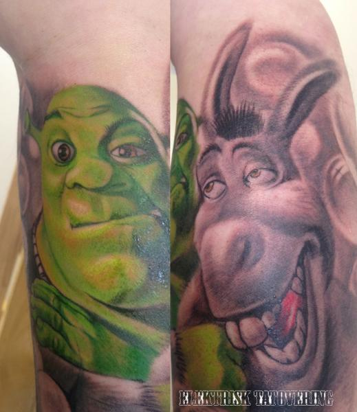 Arm Fantasy Shrek Tattoo By Elektrisk Tatovering