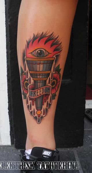 Calf Old School Flame Tattoo By Elektrisk Tatovering