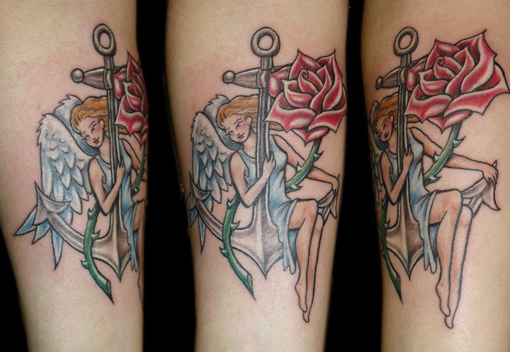 Arm Fantasy Flower Angel Anchor Tattoo by Art and Soul Tattoo