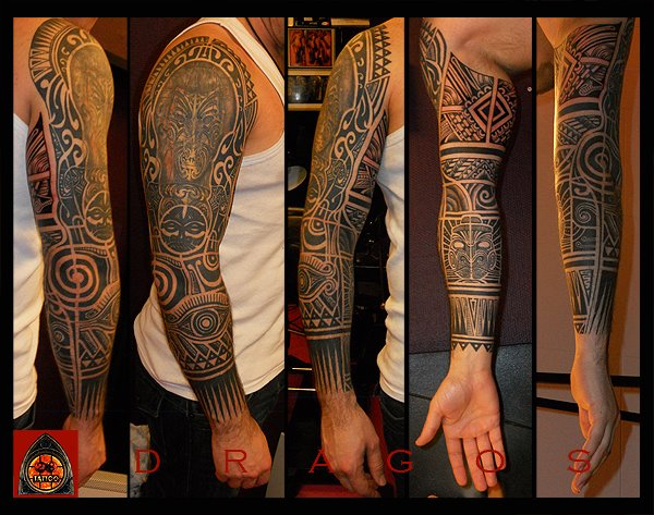 tribal maori sleeve tattoo von 28 tattoo. Black Bedroom Furniture Sets. Home Design Ideas