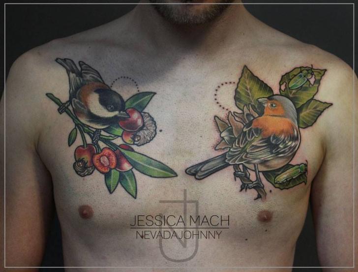 Realistic Chest Bird Tattoo by Jessica Mach