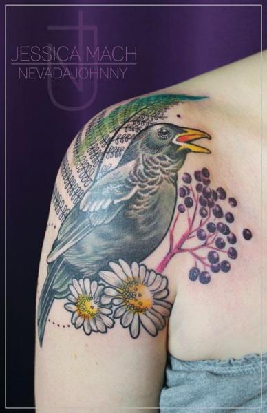 Shoulder realistic bird tattoo by jessica mach for Realistic bird tattoo