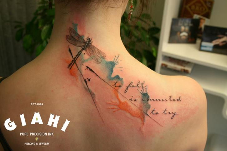 Lettering Back Dragonfly Tattoo by Giahi