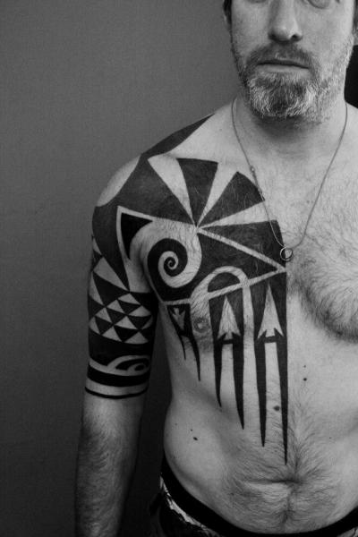 tattoo needle tribal Arm by From The Tattoo Belly Chest Tribal Needle Maori Shoulder Evil