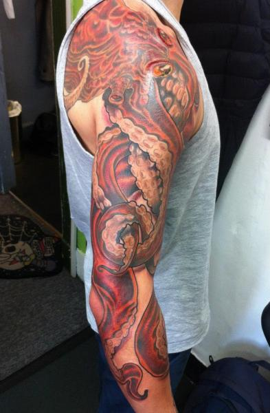 Octopus Sleeve Tattoo by Evil From The Needle