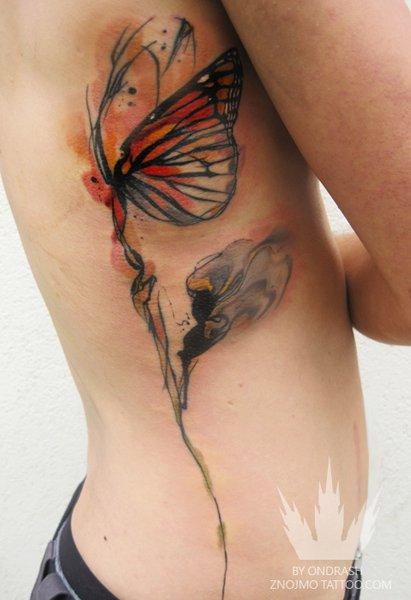 Flower side butterfly tattoo by ondrash tattoo for Flower side tattoo