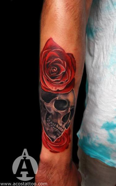 arm blumen totenkopf tattoo von andres acosta. Black Bedroom Furniture Sets. Home Design Ideas