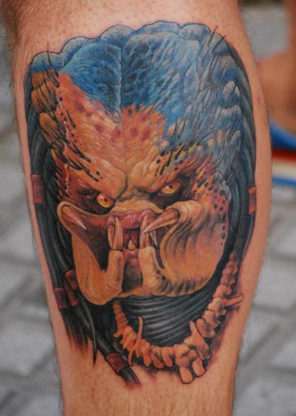 Fantasy Calf Alien Tattoo By Silvercrane Tattoo