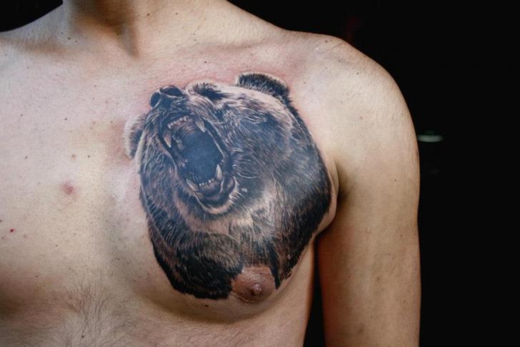 Realistic chest bear tattoo by piranha tattoo supplies for Bear chest tattoo