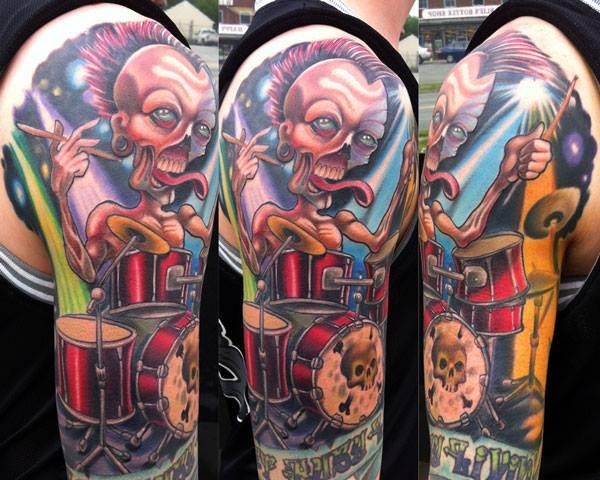 Shoulder Fantasy Character Drum Tattoo By Vince Villalvazo