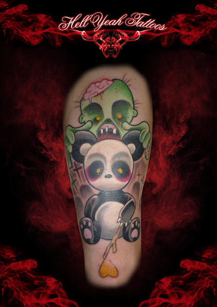 Arm Fantasy Panda Zombie Tattoo By Hellyeah Tattoos