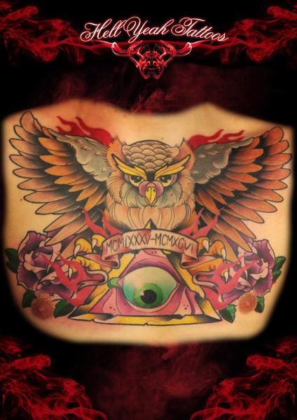 new school brust eulen gott tattoo von hellyeah tattoos. Black Bedroom Furniture Sets. Home Design Ideas