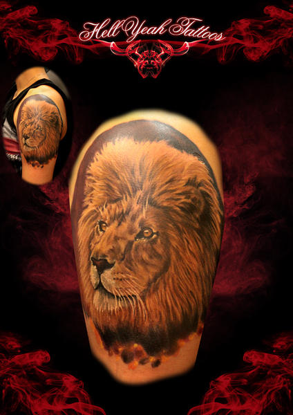 Tatouage paule r aliste lion par hellyeah tattoos - Tatouage lion epaule ...