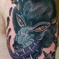 Shoulder New School Wolf tattoo by Nick Baldwin