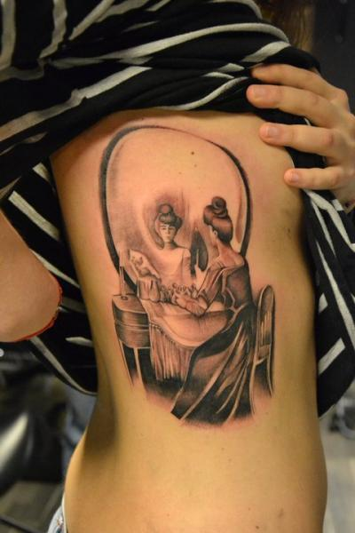 Mirror Side Skull Tattoo by Crazy Needle