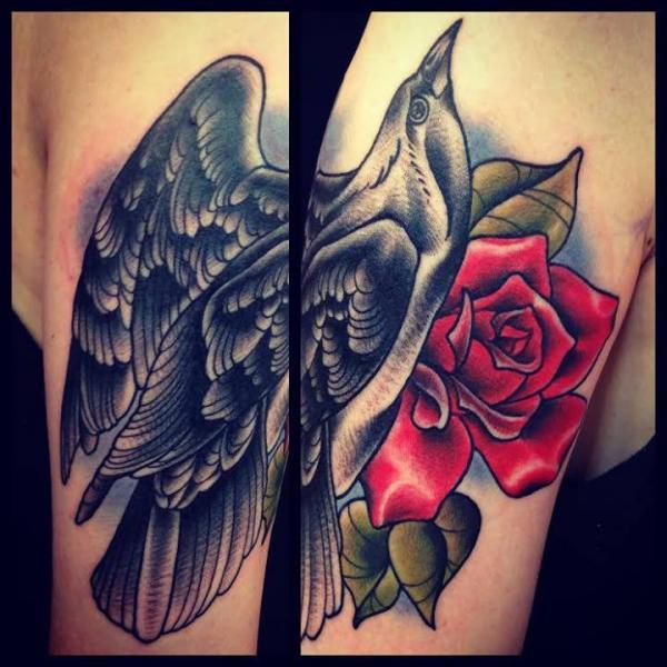 Arm Old School Flower Crow Tattoo By Sarah B Bolen