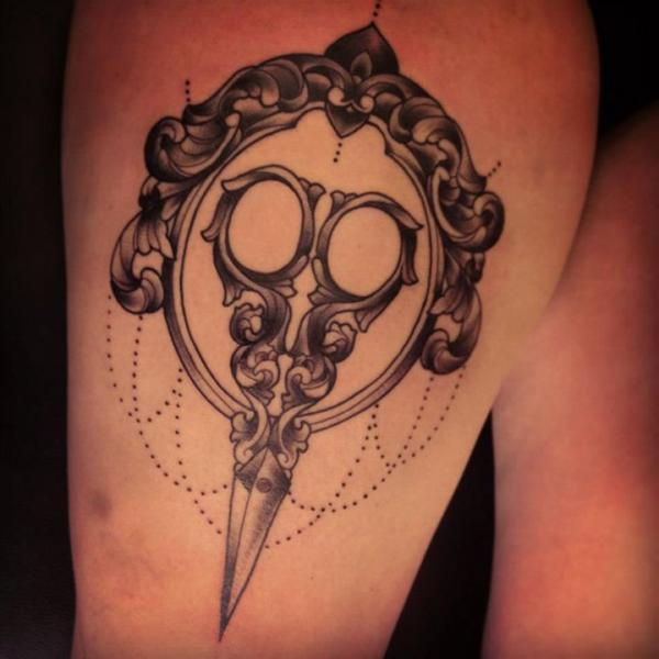 Scissor Thigh Tattoo By Sarah B Bolen