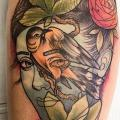 Arm Fantasy Flower Women Bird tattoo by Earth Gasper Tattoo