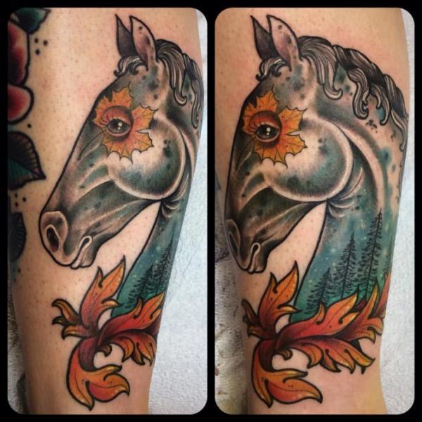 Tatuaje brazo caballo hoja por earth gasper tattoo for Horse tattoo traditional