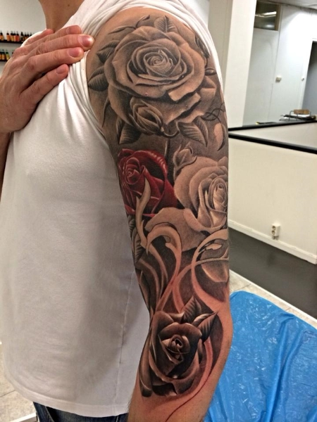 arm realistic flower tattoo by no remors tattoo. Black Bedroom Furniture Sets. Home Design Ideas