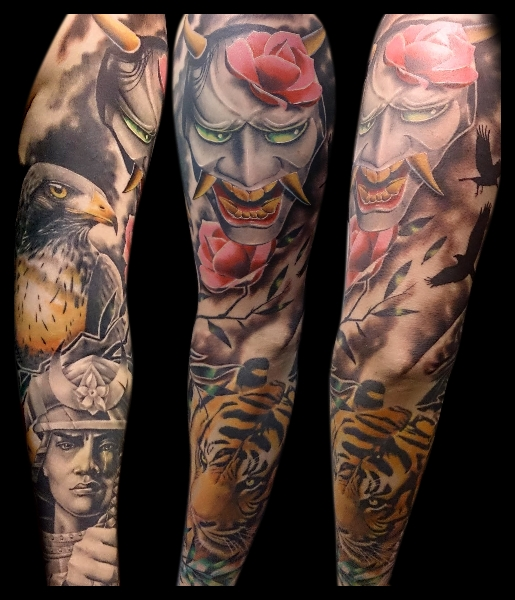 tatouage japonais samoura tigre d mon sleeve par no remors tattoo. Black Bedroom Furniture Sets. Home Design Ideas
