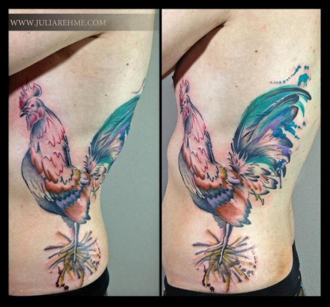 side rooster tattoo by julia rehme. Black Bedroom Furniture Sets. Home Design Ideas