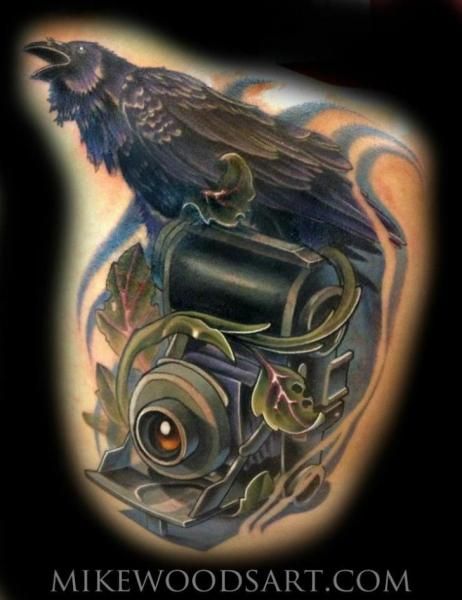 Camera Crow Tattoo by Mike Woods